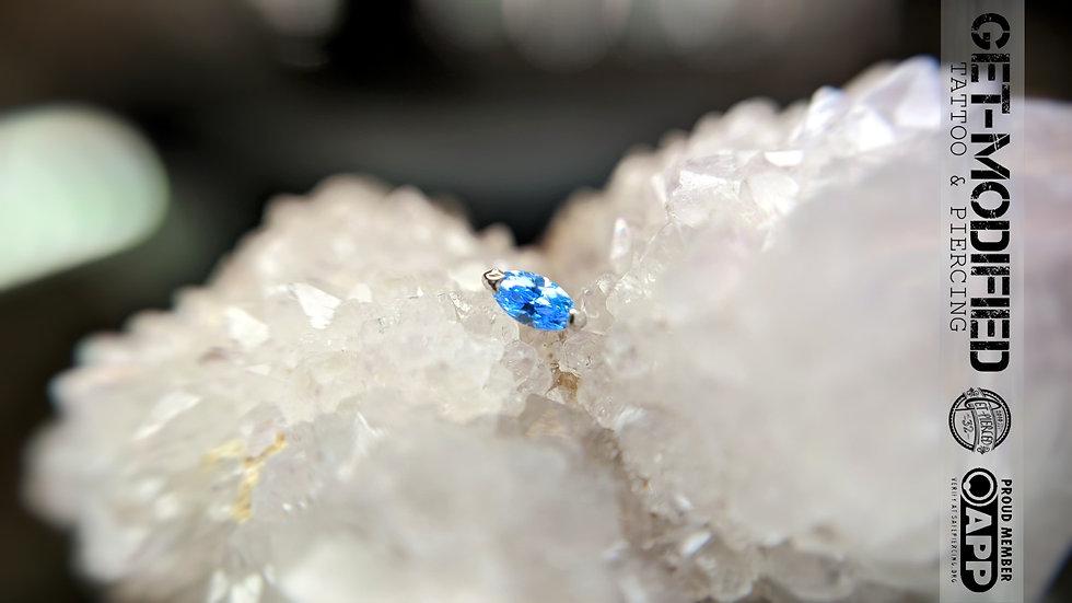 Auris 16g Prong Marquise Ft Fancy Blue Swarovski Cubic Zirconia