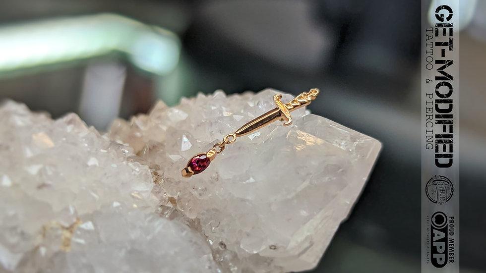 Auris 16g Dagger with Marquise Cut Red Swarovski Cubic Zirconia Dangle