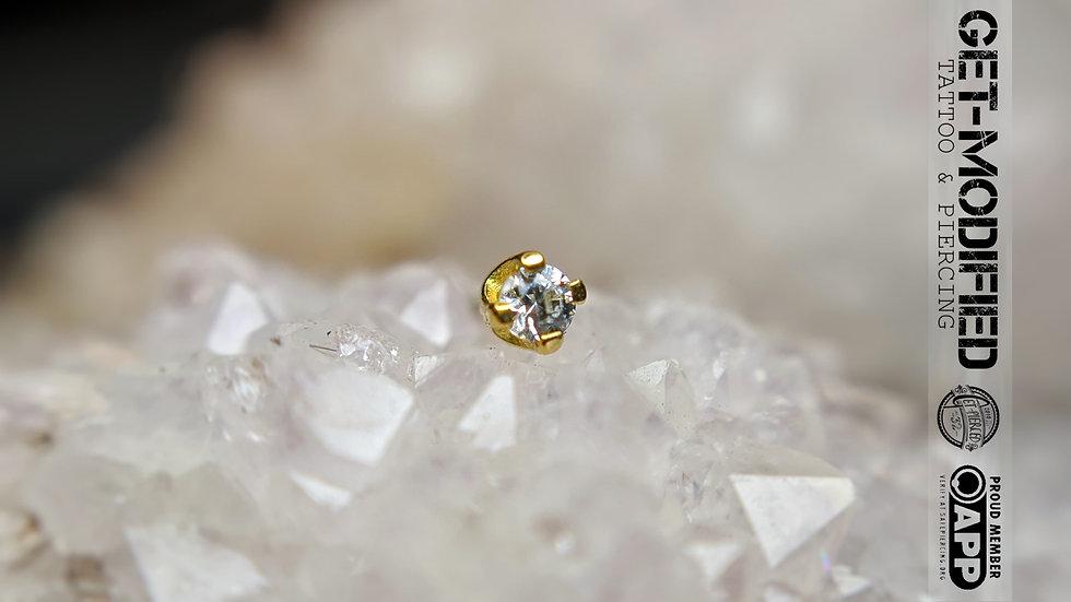 Classic 18ct Gold 1.5mm Prong Set Swarovski Created Diamond