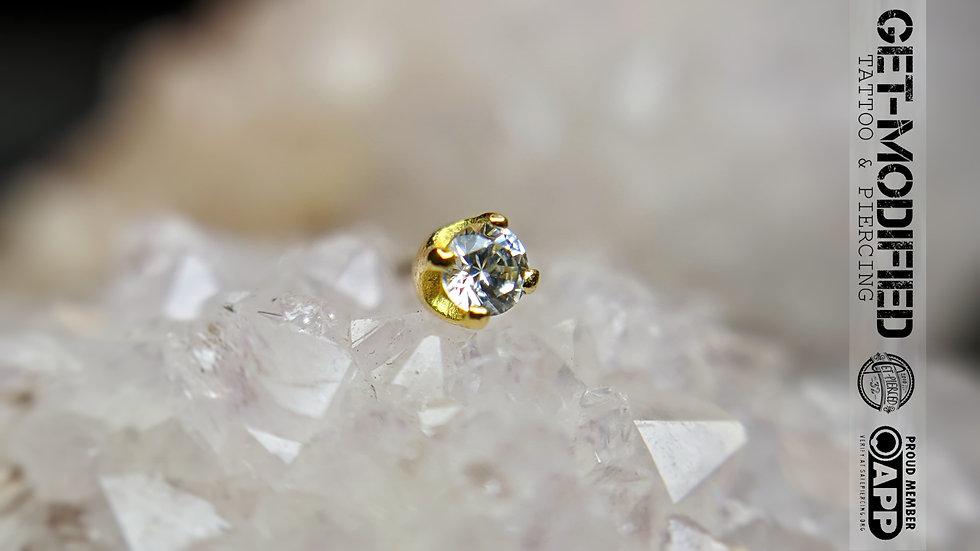 Classic 18ct Gold 2mm Prong Set Swarovski Created Diamond