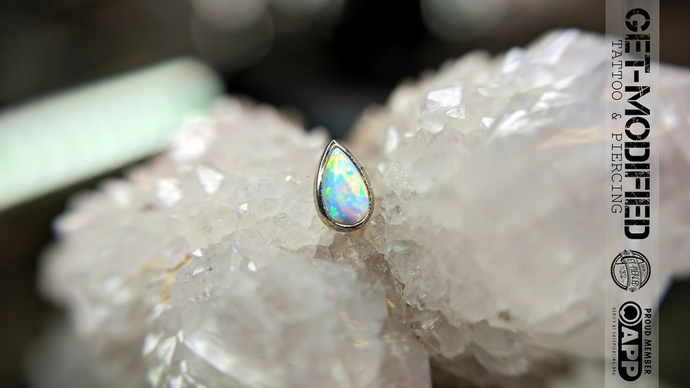 Auris 16g Large Teardrop ft White Fauxpal in 14ct White Gold