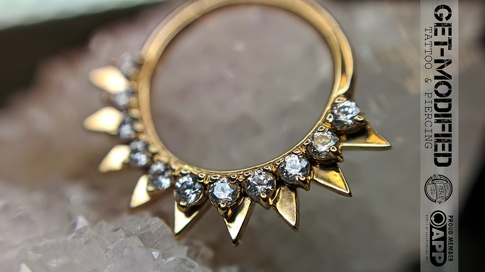 "Auris 3/8"" x 16g Desert Sun Hinge Ring with Swarovski Cubic Zirconia"