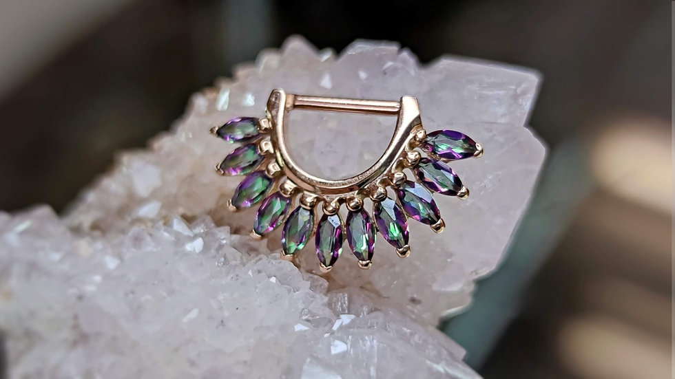 "Auris 1/4""Drop x 5/16"" Wearable Marchesa Mystic Topaz Clicker"