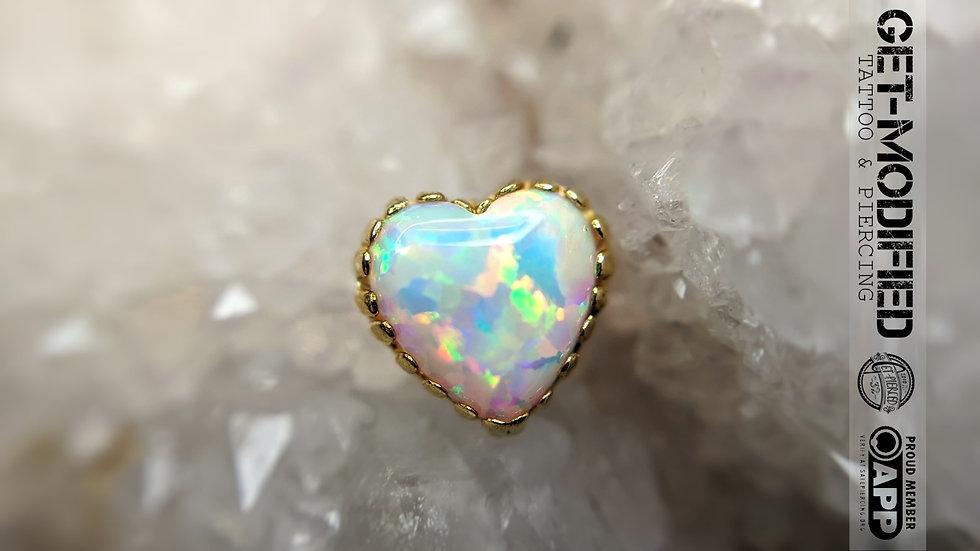 Anatometal Opal Heart Fauxpal in 18ct Gold