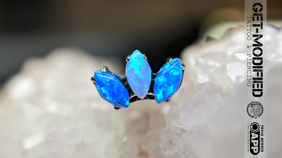 """Odyssey """"Marquise"""" Faceted Gem End (4mm x 2mm Gems) Threadless"""