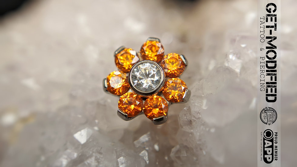 Titanium Flower with Faceted Gems (7 Petal Flower) (TNBTF2)