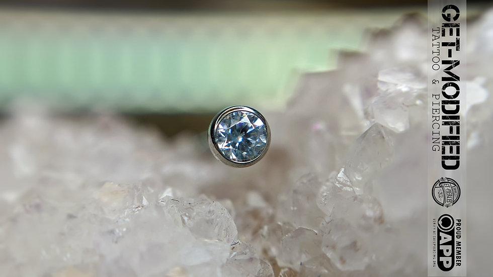 Neometal 2.5mm Bezel set Cubic Zirconia Threadless