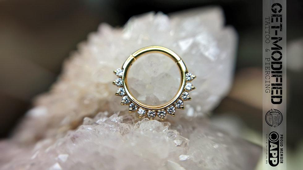 """Auris 5/16"""" x 16g Tiara Hinge Ring Ft White Swarovski Cubic Zirconi"""
