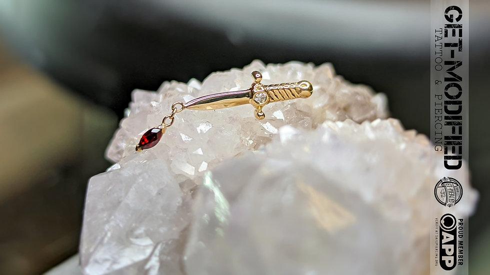 BVLA Slasher Dagger and Charm(AA) Garnet and (VS) Diamond