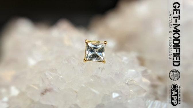Classic 18ct Gold Prong Set Princess Cut Cubic Zirconia