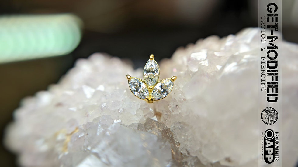 Classic 18ct Gold Prong Set Marquise Triple Cubic Zirconia