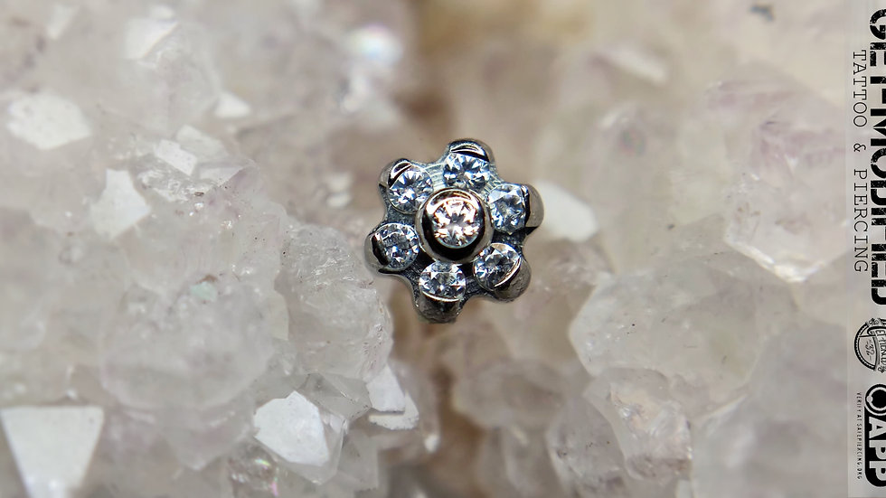 Industrial Strength Titanium Flower with Faceted Gems (6 Petal Flower)