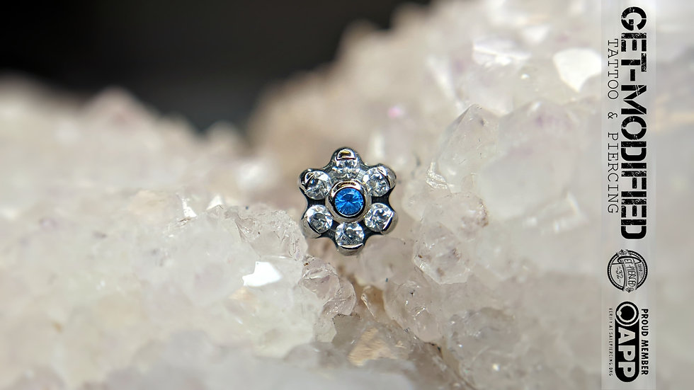 Titanium Flower with Faceted Gems (6 Petal Flower) (TNBTF1)