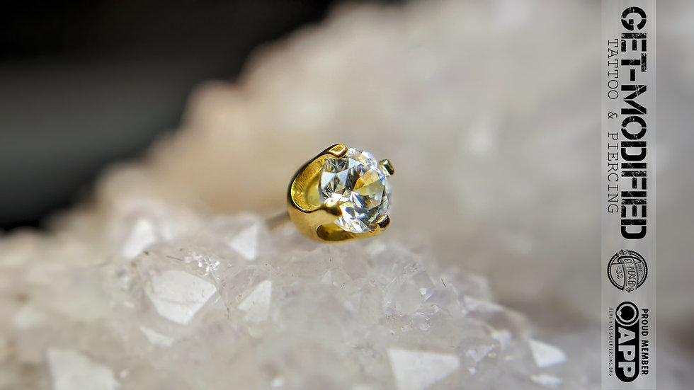 Classic 18ct Gold 3mm Prong Set Swarovski Created Diamond
