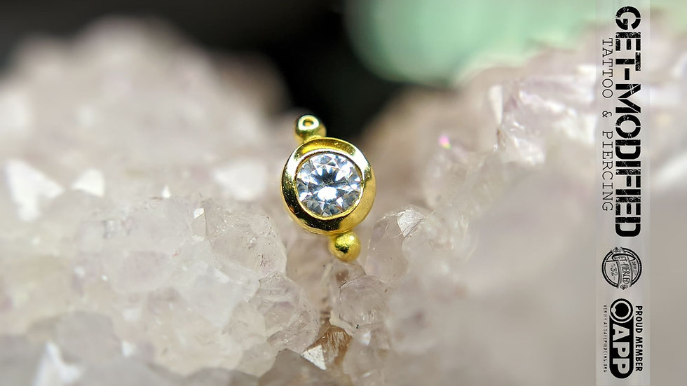 Classic 18ct Gold Bezel Set Cubic Zirconia with Bead Accent