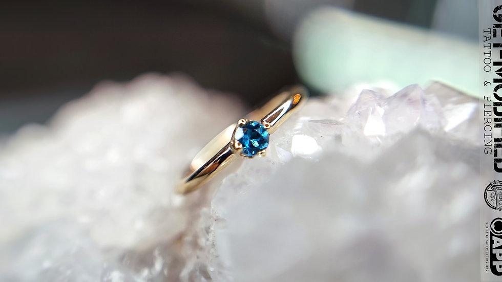 "BVLA 5/16"" x 18g Prong Set Seam Ring (AA) London Blue Topaz"