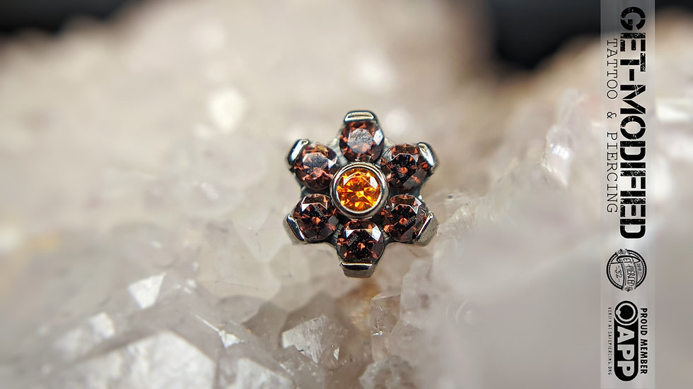 Titanium Flower with Faceted Gems (6 Petal Flower) (TNBTF1)
