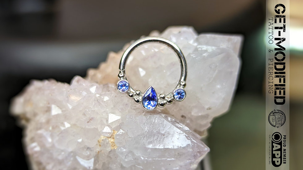 "BVLA 3/8"" Inside Out Eden Pear (AA) Tanzanite"