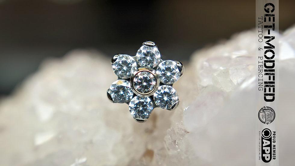 Titanium Flower with Faceted Gems (6 Petal Flower) Threadless