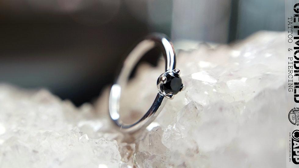 "BVLA 5/16"" x 18g Prong Set Seam Ring Black Diamond"