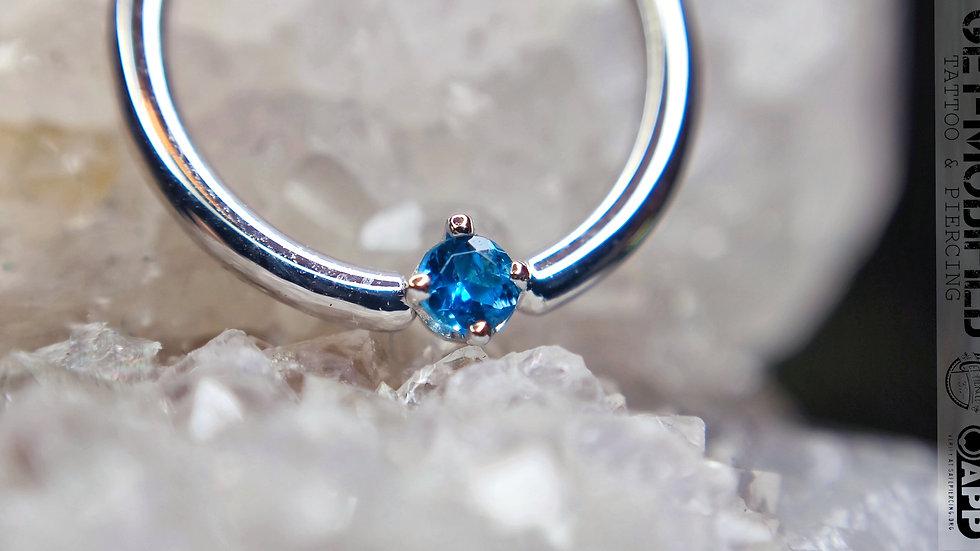 "BVLA 3/8""Round Ocean Blue Diamond Seam Ring"