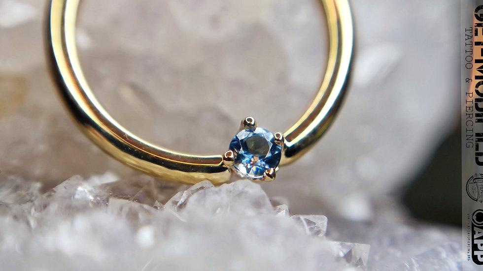 """BVLA 3/8""""Round (AA) Aquamarine Seam Ring"""