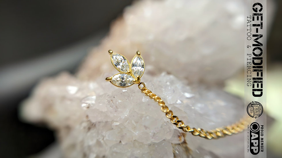 Classic 18ct Gold Prong Set Marquise Triple with Chain Cubic Zirconia