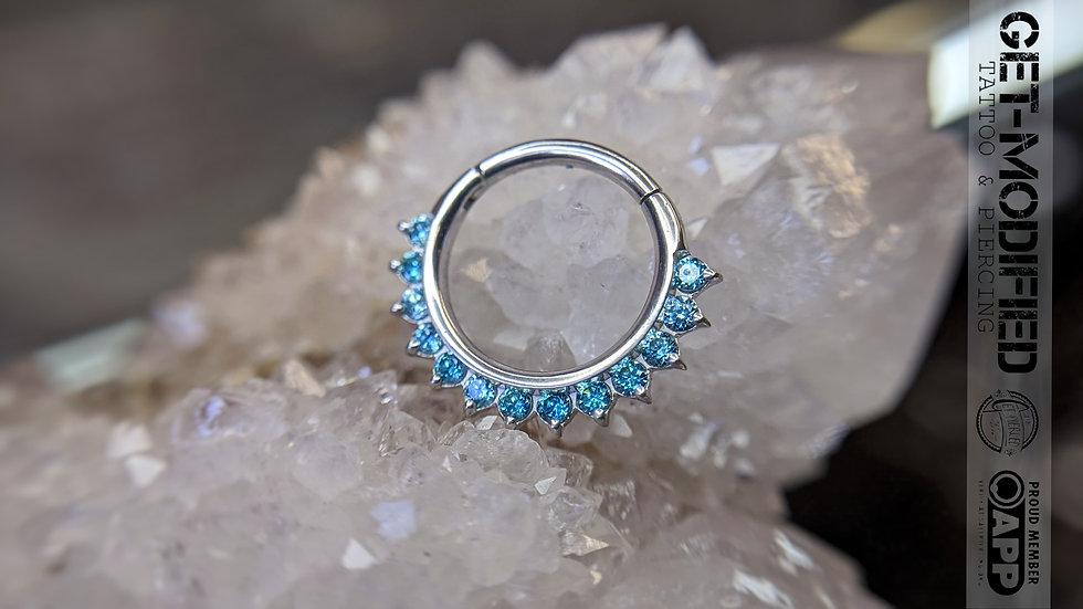 """Auris 5/16"""" x 16g Tiara Hinge Ring Ft Mint Green Swarovski Cubic Zirconia"""