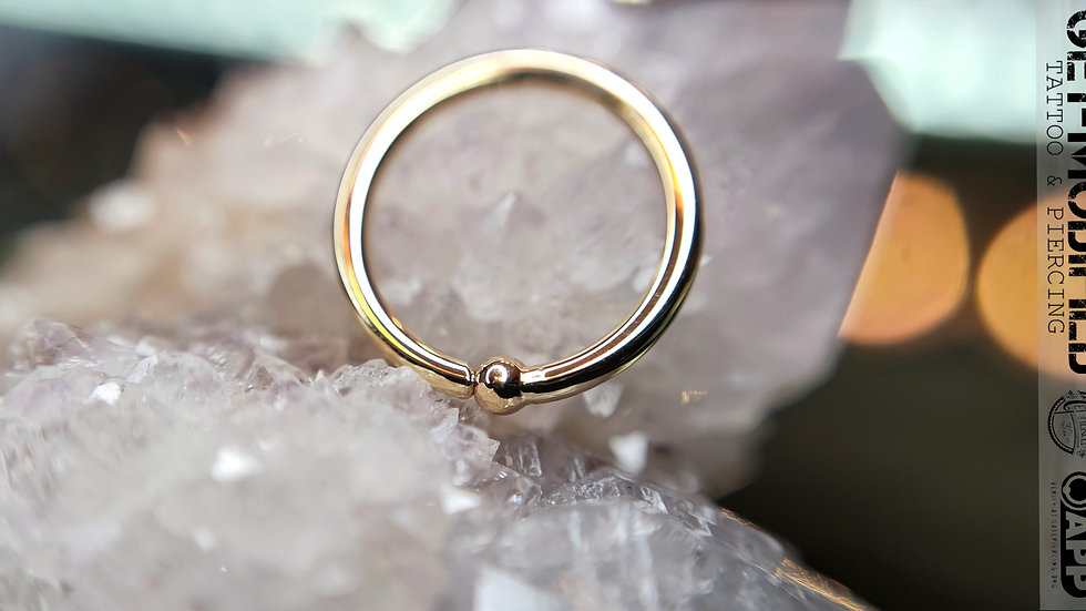 """BVLA 3/8"""" Fixed Bead Ring 14kt Solid Gold"""