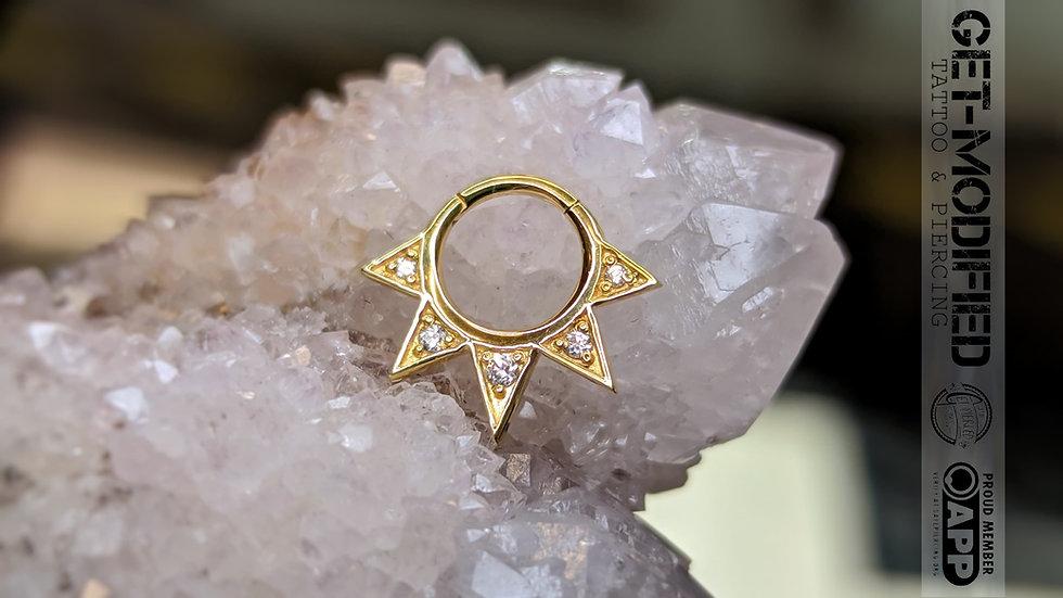 """Auris 1/4"""" x 16g Jupitur Hinge Ring Ft White Swarovski Cubic Zirconia"""
