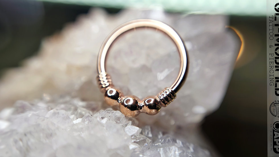 "BVLA 16GA 3/8"" Myla - Seam Ring with 3 Tiny Beads & Faux Wire Wrap"