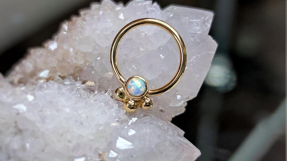 Danila Tarcianale FIPG 18ct Gold Shakti Seam Ring with White Fauxpal