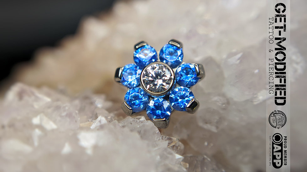 Titanium Flower with Faceted Gems (7 Petal Flower) (TNBTF2)