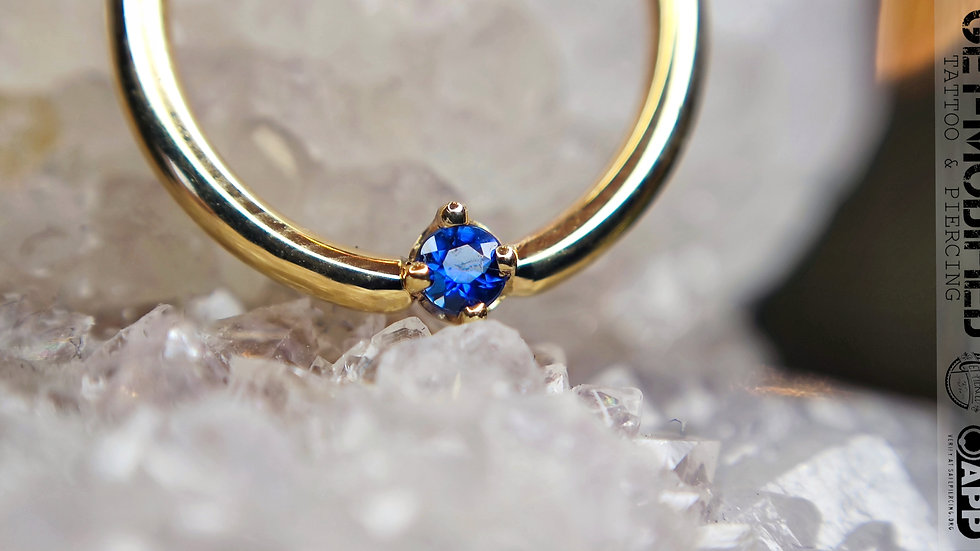 "BVLA 3/8""Round (AA) Blue Sapphire Seam Ring"