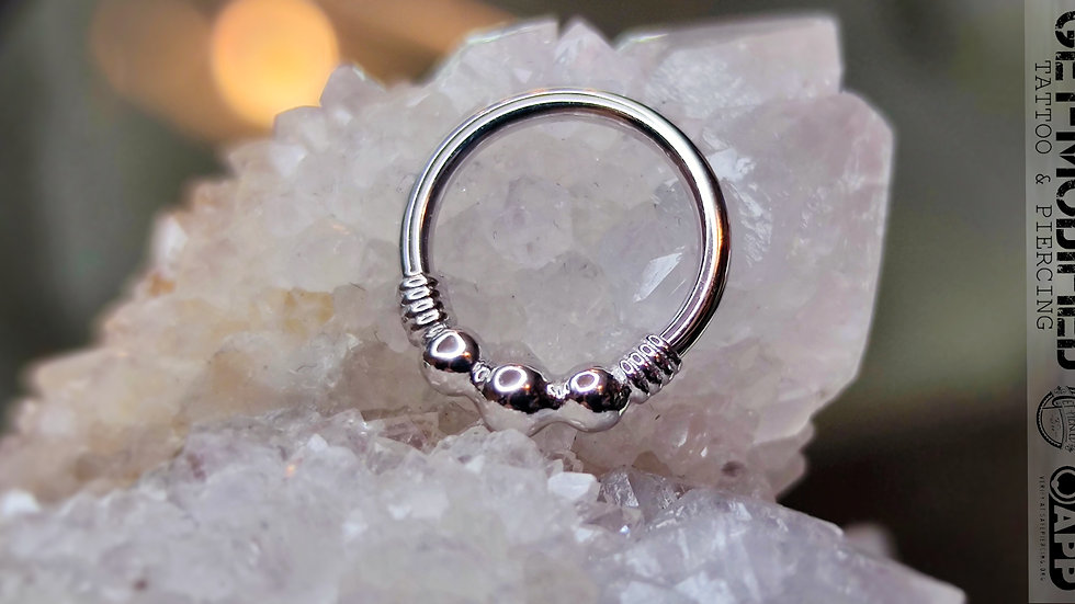 """BVLA 16GA 3/8"""" Myla - Seam Ring with 3 Tiny Beads & Faux Wire Wr"""