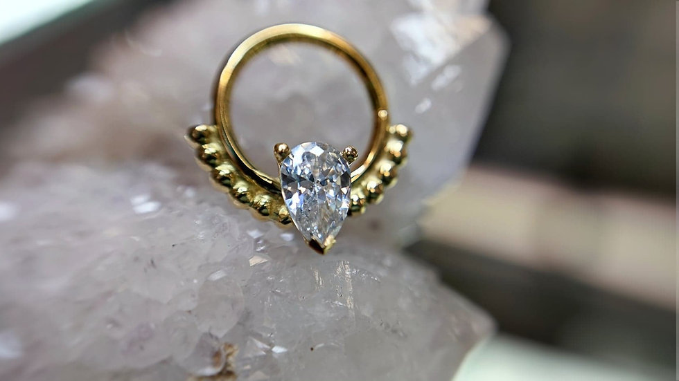 Danila Tarcianale FIPG 18ct Gold Phoenix Seam Ring with White Cubic Zirconia