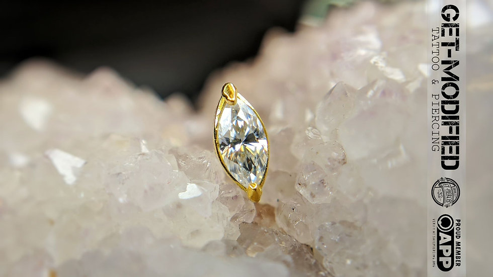 Classic 18ct Gold Prong Set Marquise Cubic Zirconia