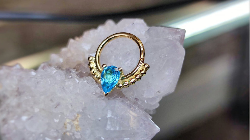 Danila Tarcianale FIPG 18ct Gold Phoenix Seam Ring with Swiss Blue Topaz