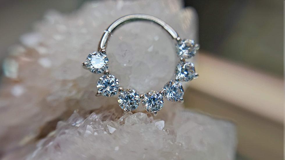 """Auris 3/8"""" x 16g Tiara Hinge Ring Ft White Swarovski Cubic Zirconia set in"""