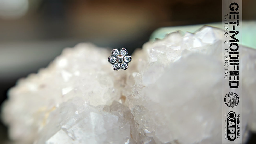 Industrial Strength Titanium Flower with Faceted Gems 6 Petal Flower Threadless