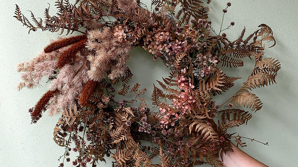 Rust and rose large everlasting wreath
