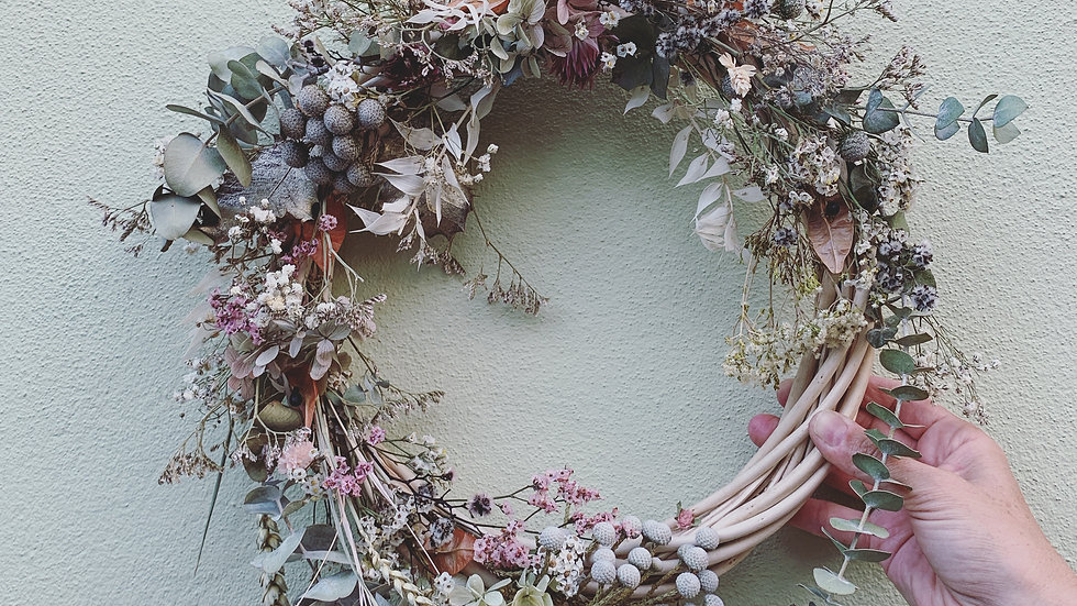 Everlasting wreath pretty pastels