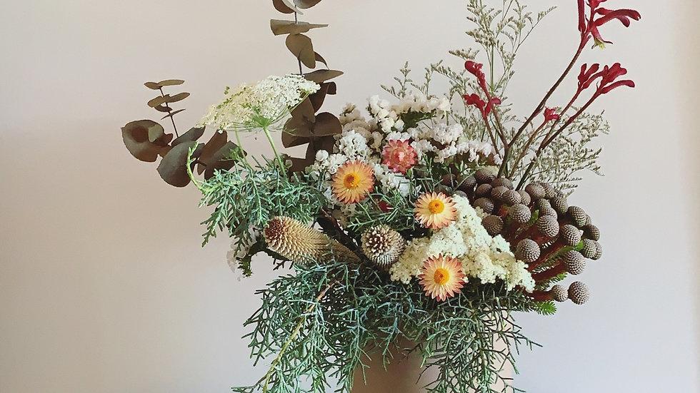 PRE-ORDER Festive fresh arrangement in blush ceramic pot.