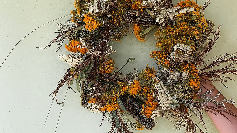 Wildflower wreath with Banksia and Verticordia
