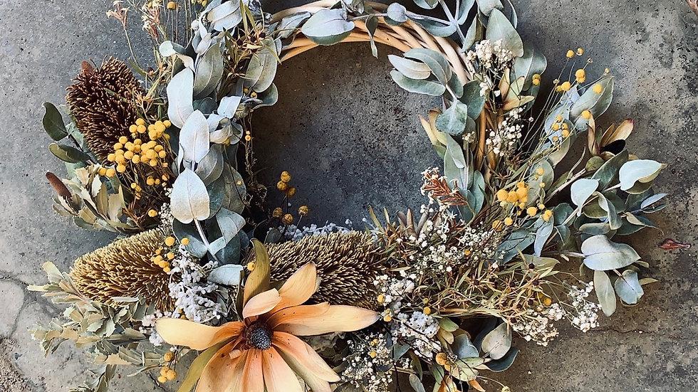 Banksia beauty everlasting wreath