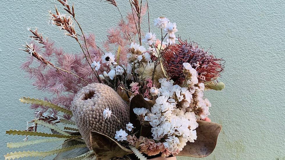 Pink everlasting in small ceramic pot