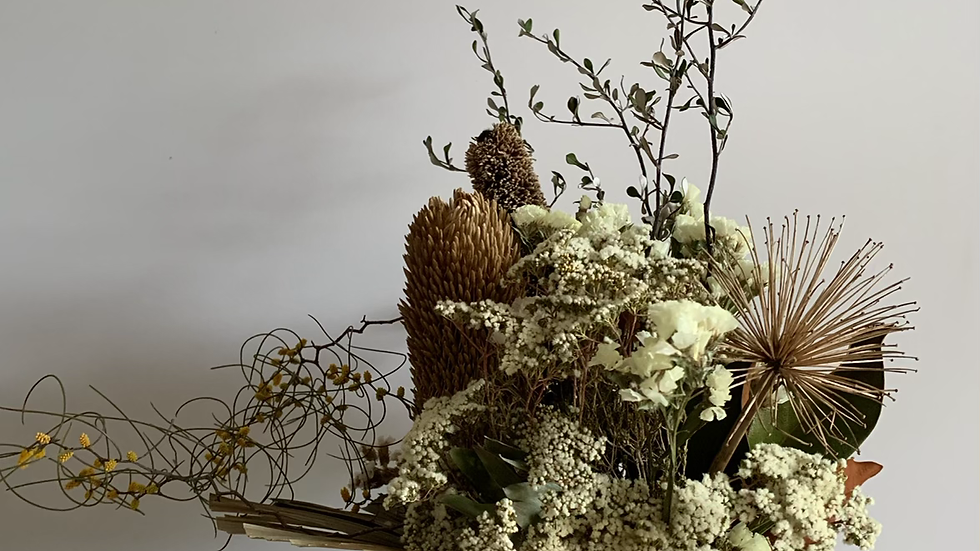 Earth pot with banksia