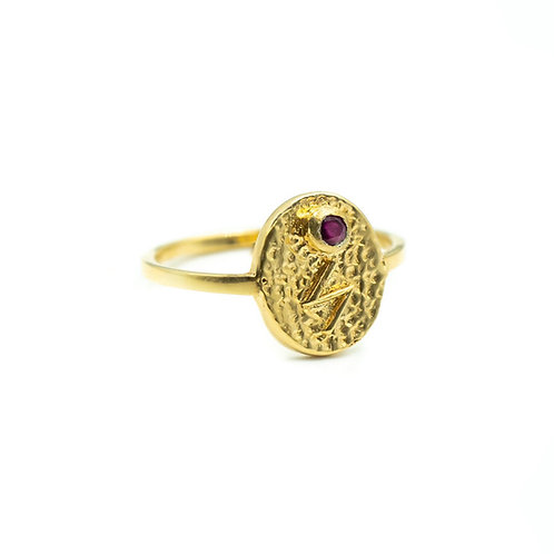 Gold Sowilo Rune Ring