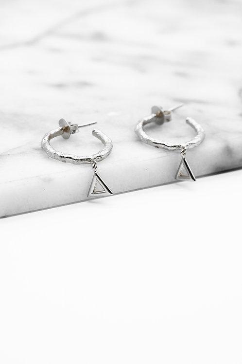 Silver Fire Element Hoop Earrings Pre-Order