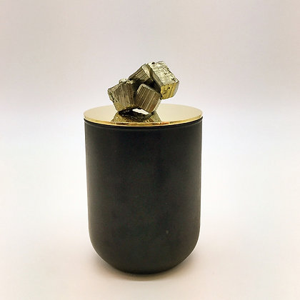Pyrite mineral stone candle
